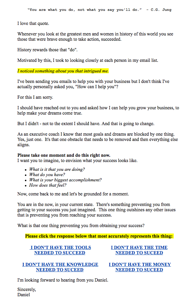Gain More Sales By Marketing with Psychology-email example