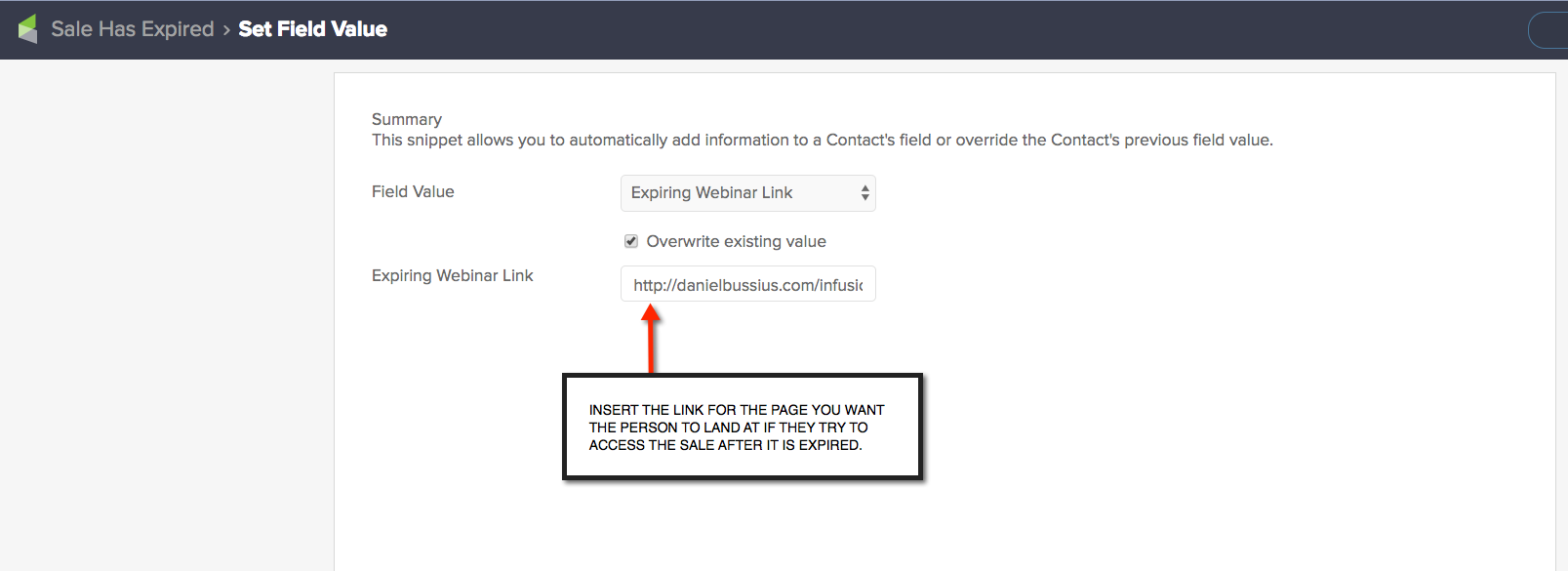 Replace expired link in Infusionsoft - daniel bussius