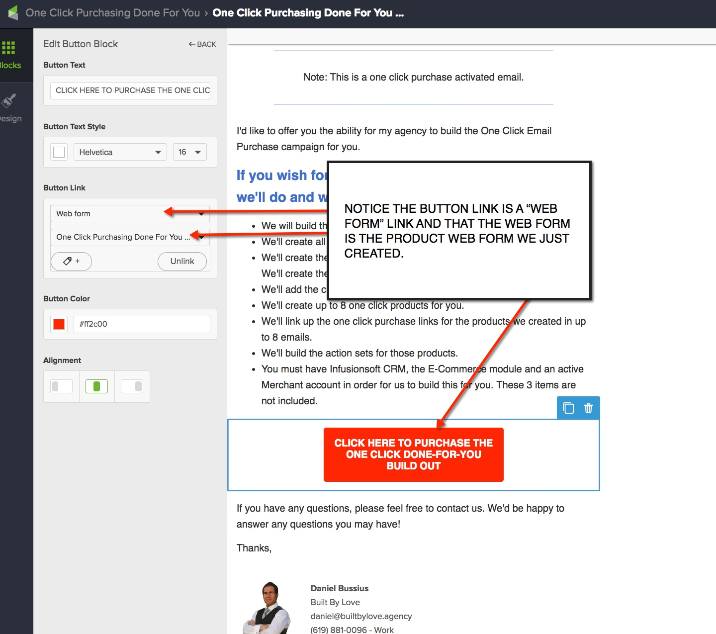 One Click Product Web Form Button Link