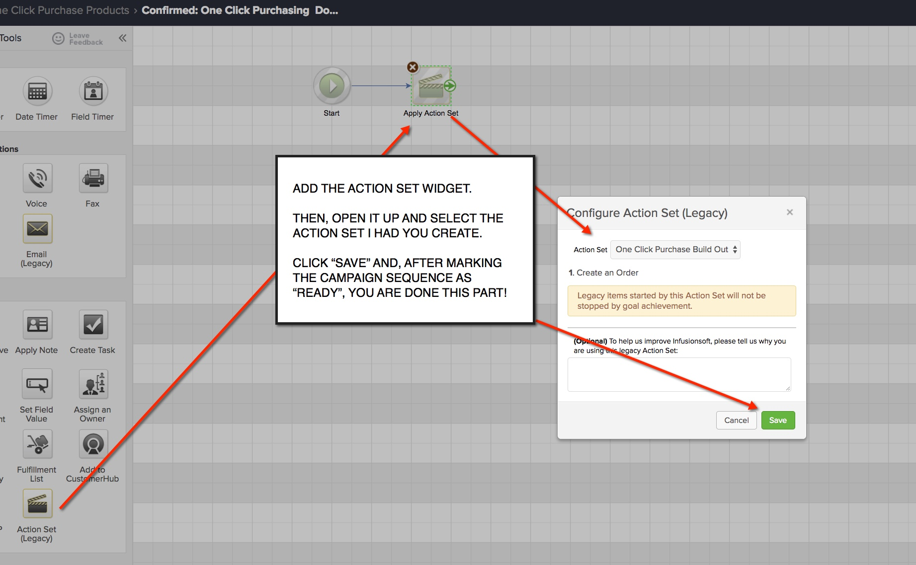 One Click Purchase Action Set inside sequence