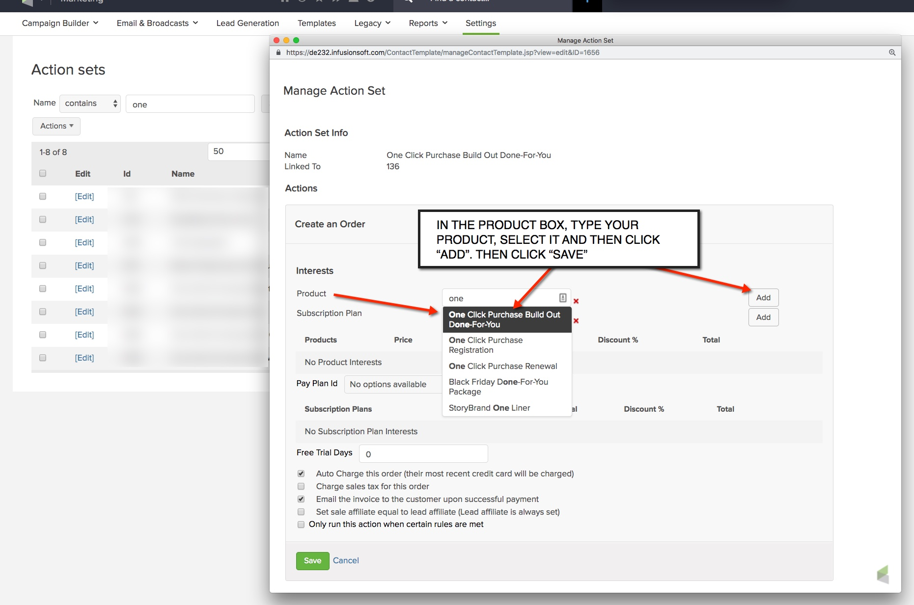 One Click Purchase Create Order Action Set