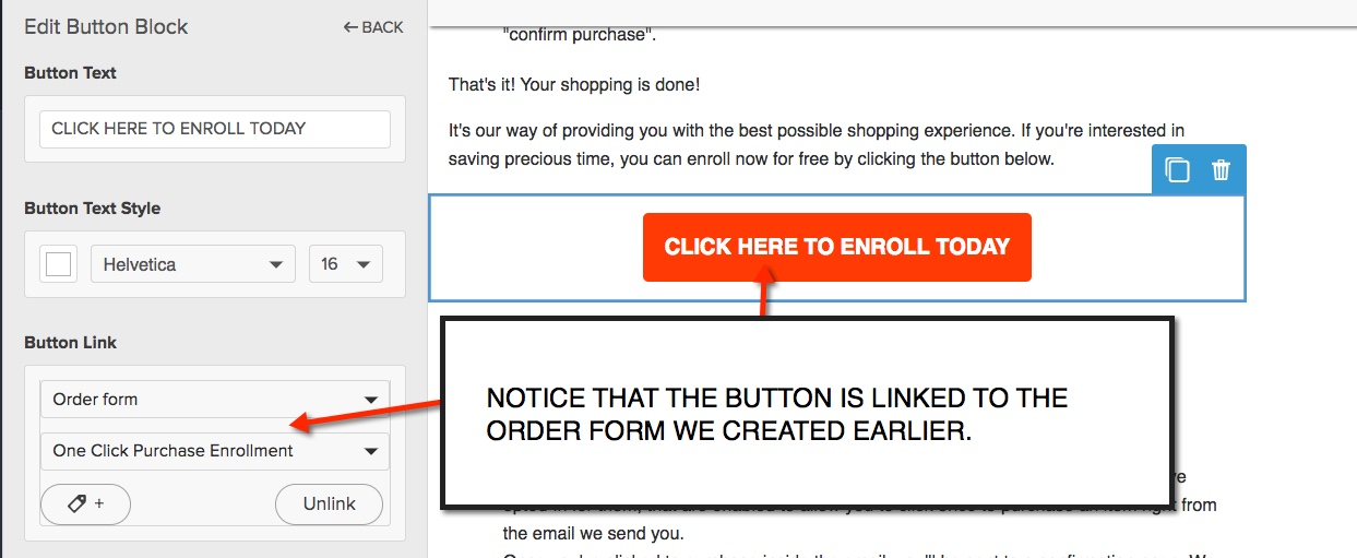 One Click Purchasing - One Click Reg Email Button Link