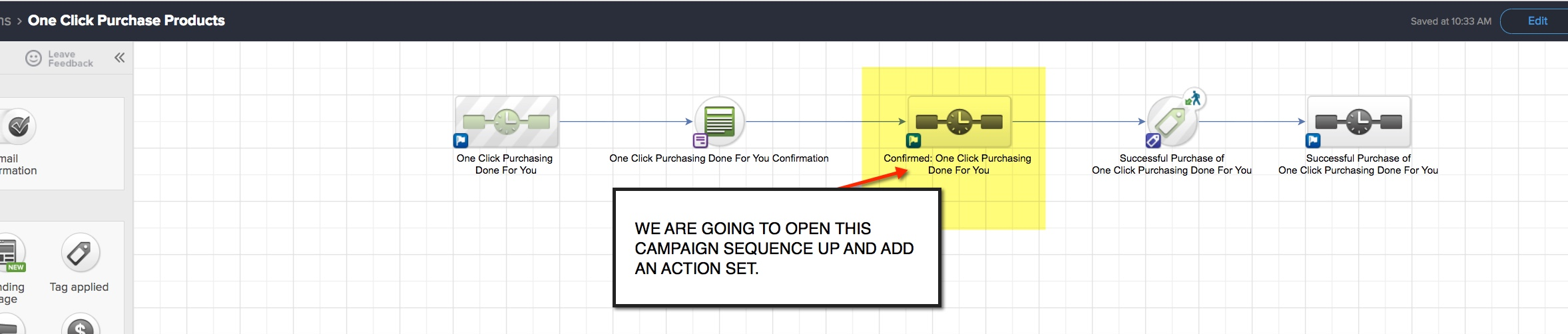 One click purchase add the campaign action set
