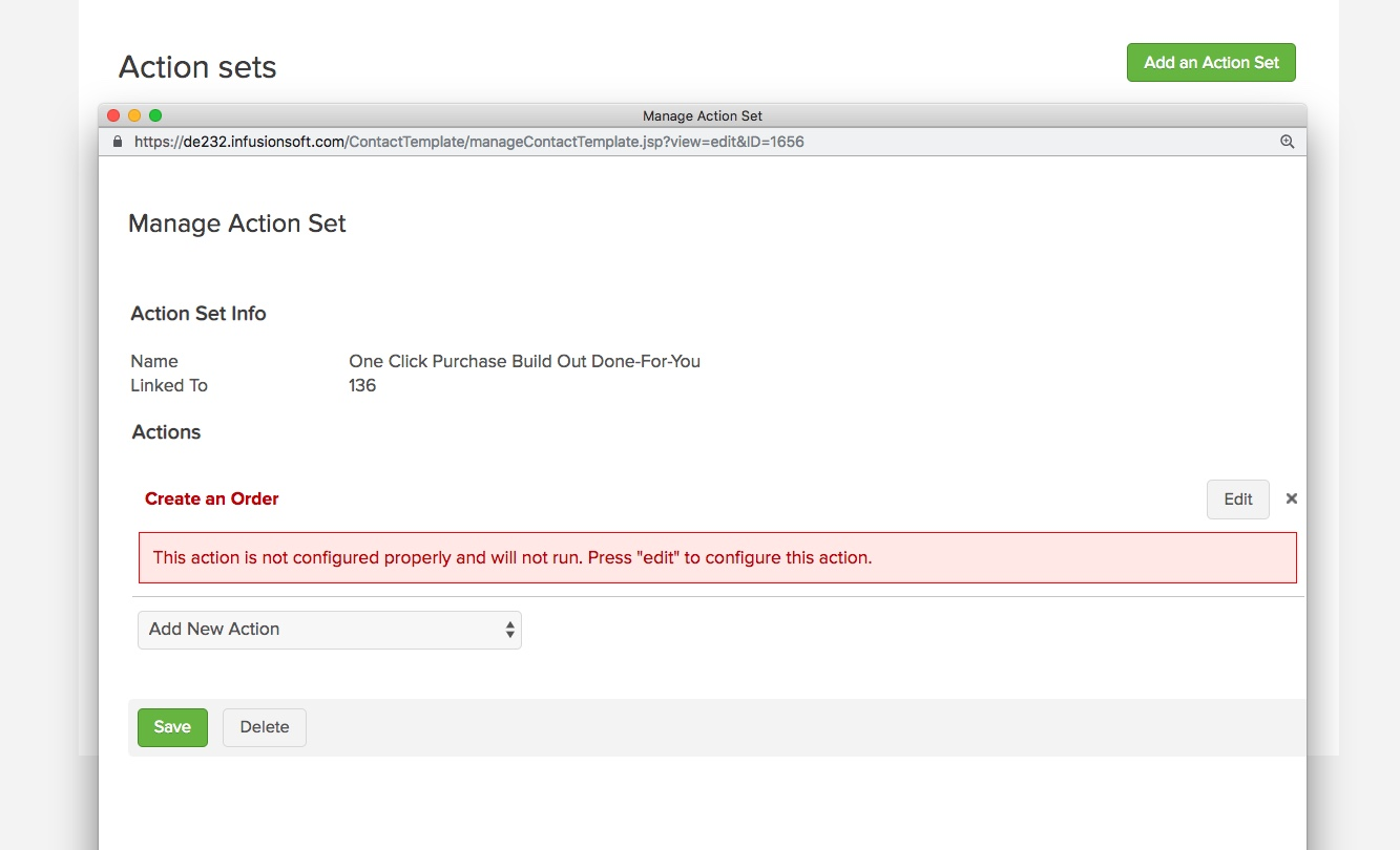 one click purchase configured wrong
