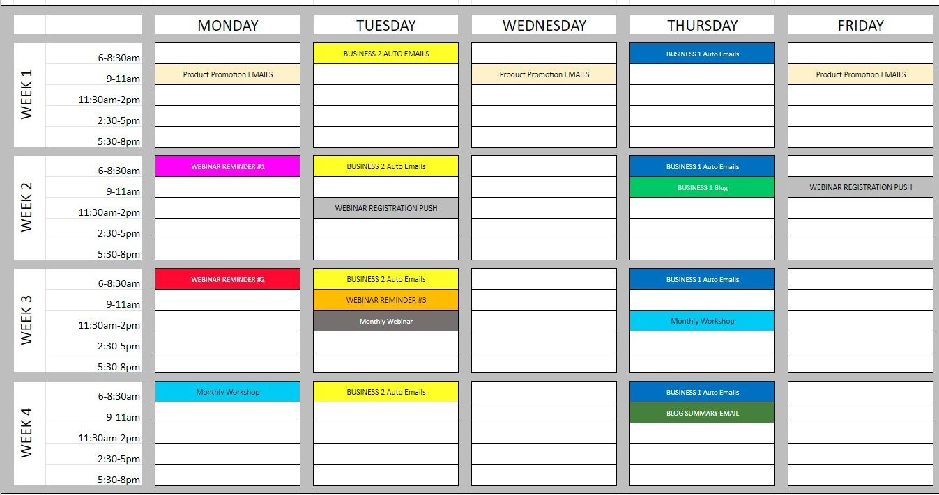 example of an email distribution schedule