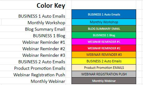 color key for an email distribution schedule