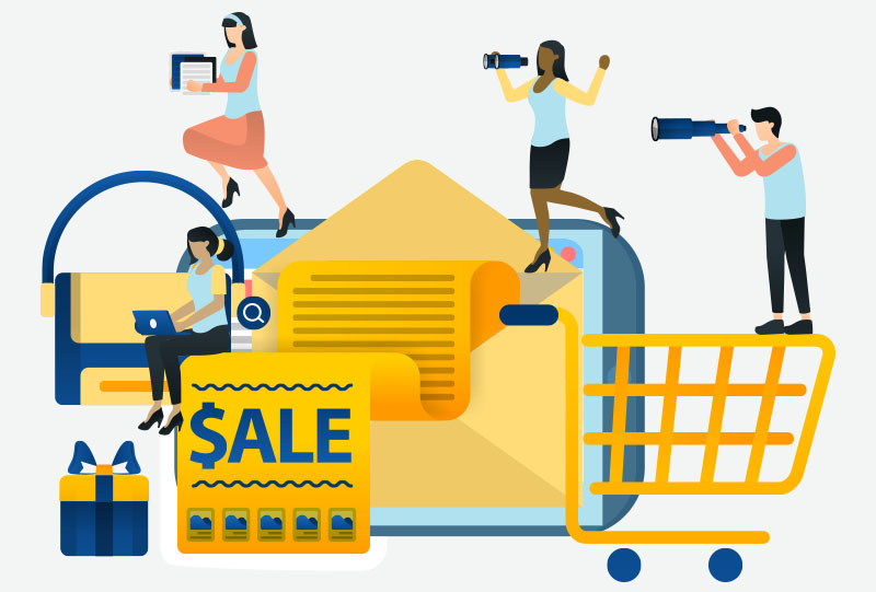 Black Friday Sale through Email Strategy Illustration