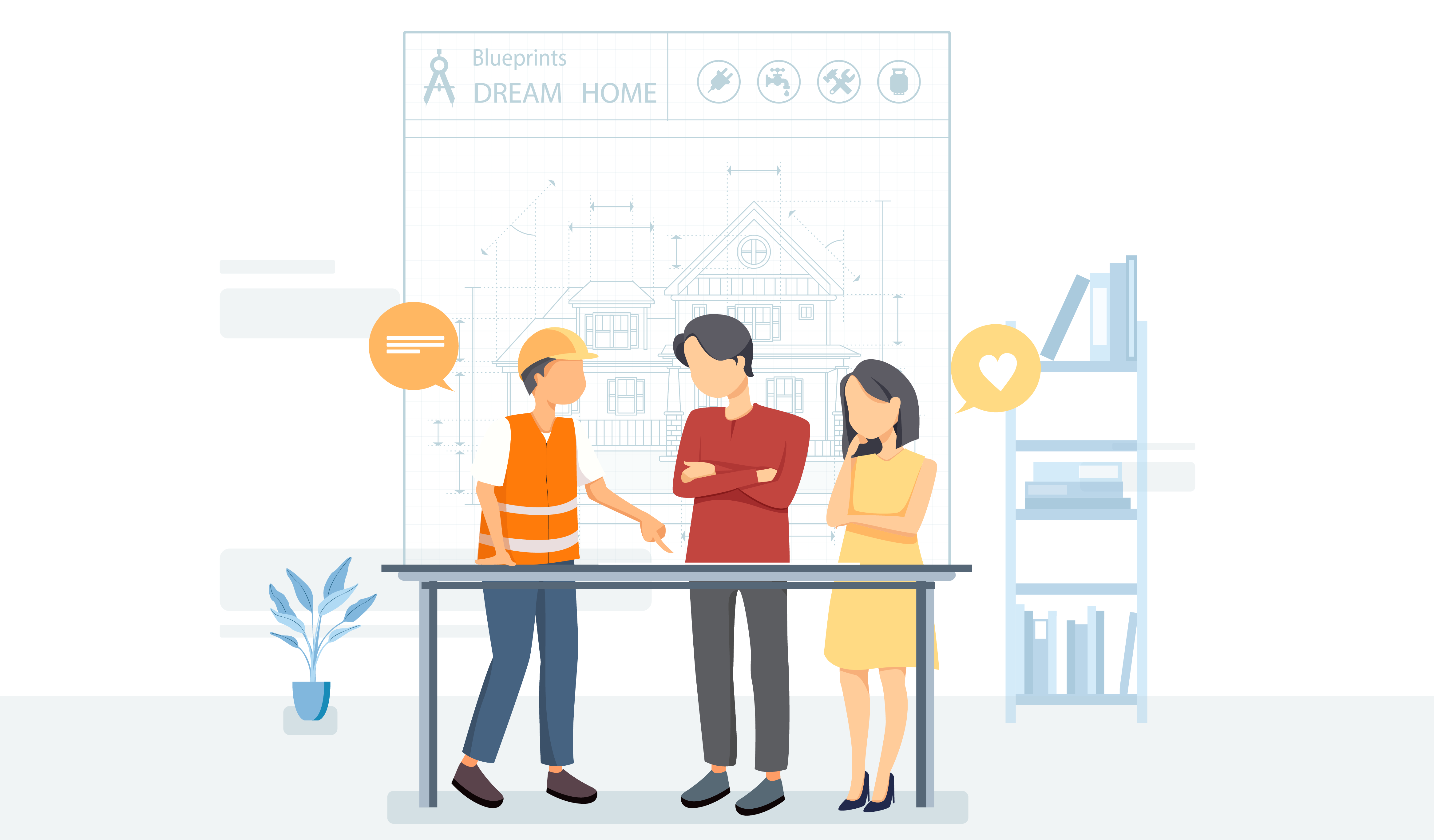 Illustration of people looking at a marketing blueprint