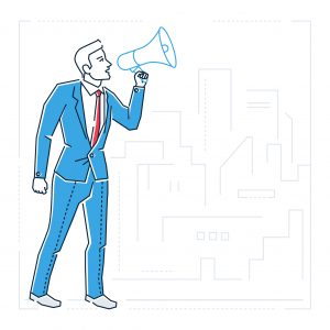 Image of man with megaphone symbolizing how to craft your brand voice with the Marketing RAMP