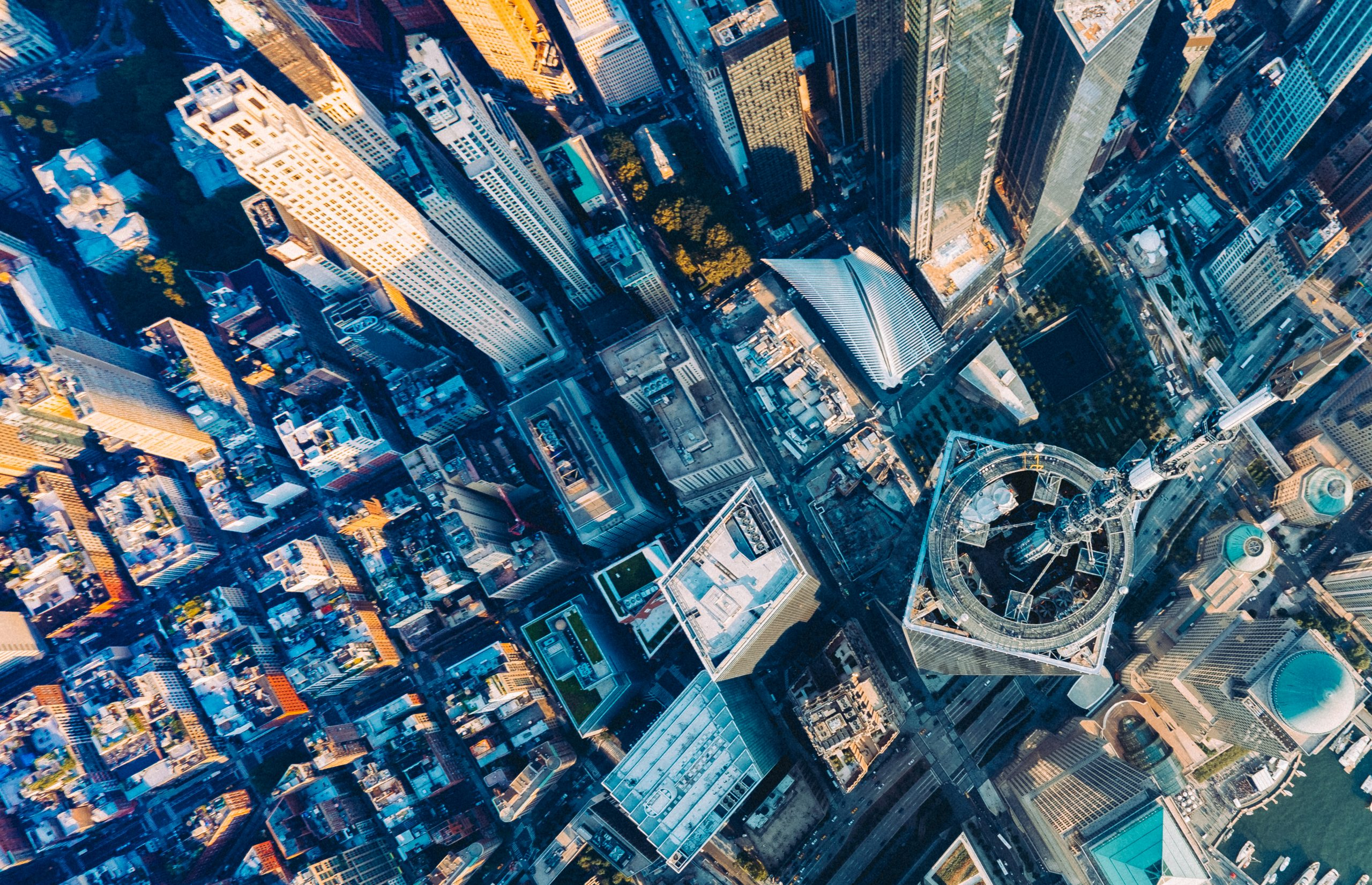 aeriel view of city representing external forces to keep in mind with your mid-year marketing checklist