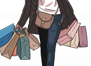illustration of person with shopping bags represting a successful Black Friday Marketing Strategy for 2021